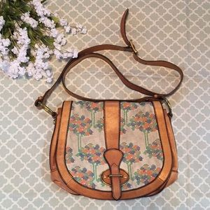 Fossil Embroidered Tree Vintage Reissue Crossbody